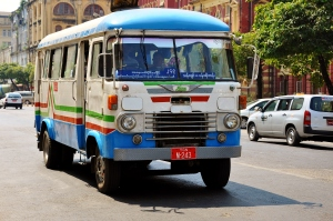 Beep beep. Yangon city bus.